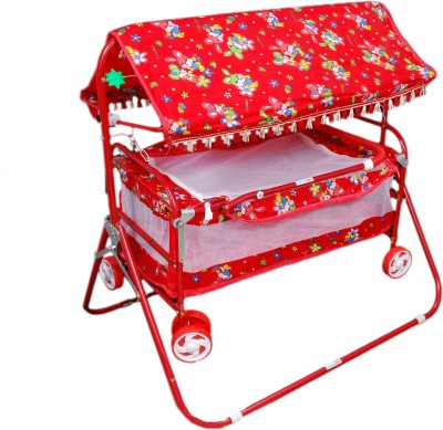 Brats N Angels Red Baby Cradle Cum Cot Cum Stroller Bassinet