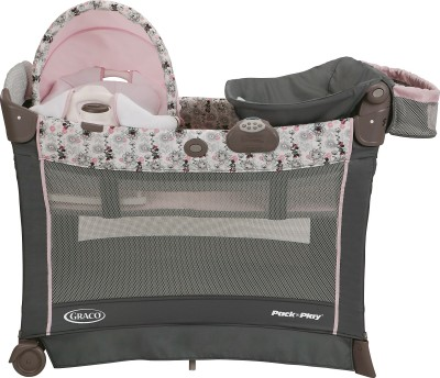 Graco Pack ,n Play Playard with Cuddle Cove Premiere Rocking Seat - Minnie's Garden Cot