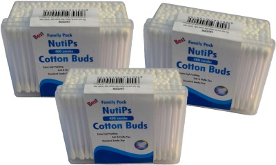 Nutips Cotton Buds 400 Swabs ( Pack of 3)(Pack of 400)