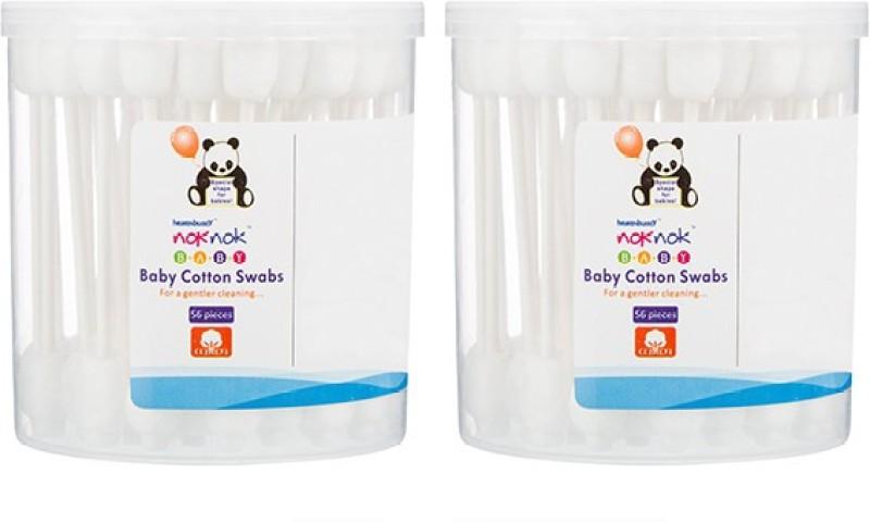 Healthbuddy Noknok Baby Cotton Swabs 2 Packs of 56 pcs Each(Pack of 56)