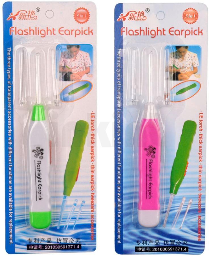Wishkey Multicolor flashlight earpick Set of 2