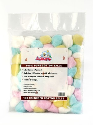 Adore 100% Pure Cotton Balls Coloured - Pack of 100