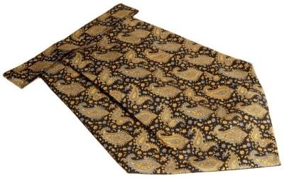The Vatican Black Cravat With Paisleys & Florals Design in Yellow, Green & Grey Cravat