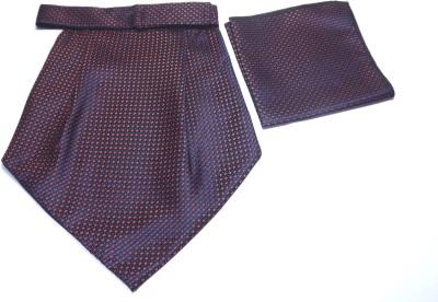 Mentiezi Mentiezi Maroon-Black Printed Micro Fibre Cravat with Pocket Square for Men Cravat