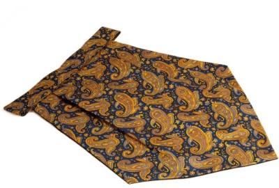 The Vatican Cravat With Blue Base & Paisleys & Florals Design enriched in Yellow, Brown & Grey Cravat
