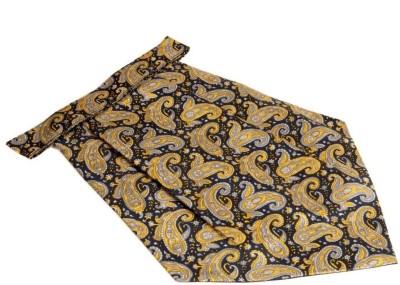 The Vatican Dark Blue Cravat With Paisleys & Florals Design in Yellow & Grey Cravat