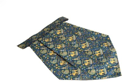 The Vatican Blue Cravat With Paisleys & Florals Design in Green, Yellow & Light Blue Cravat