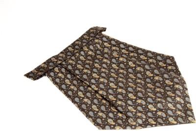 The Vatican Black Cravat With Paisleys & Florals Design in Yellow, Grey & Blue Cravat