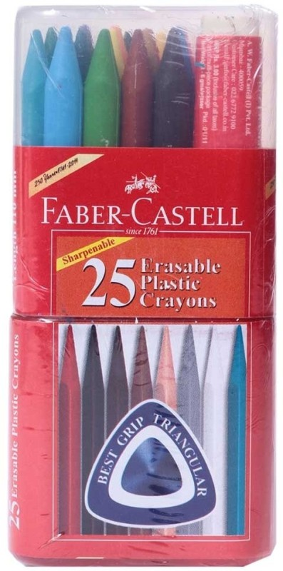 Faber Castell Triangular Shaped Wax Crayons(Set of 25, Multicolor)