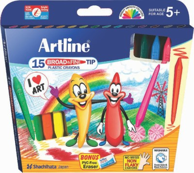 Artline Broad & Fine Tip Triangular Shaped Plastic Washable Crayons