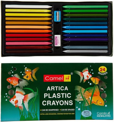 Camlin HX24 Colour Round Shaped Plastic Washable Crayons