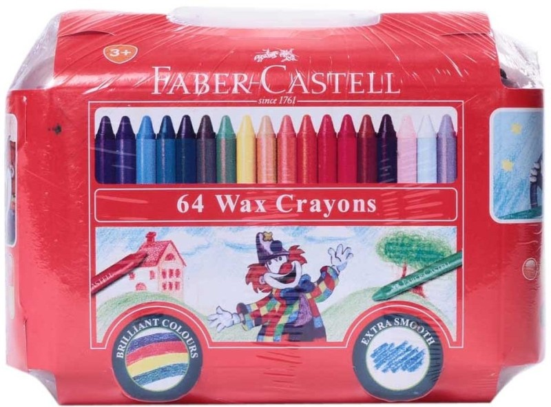 Faber Castell Triangular Shaped Wax Crayons(Set of 64, Multicolor)