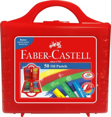 Faber-Castell Expressionist Round Shaped Oil Pastels Washable Crayons(Set of 1, Red)