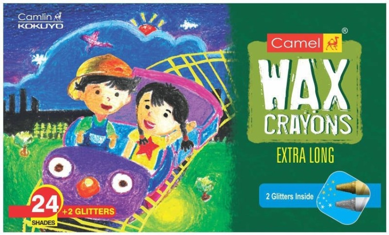 camlin round Shaped wax Crayons(Set of 1, Green)