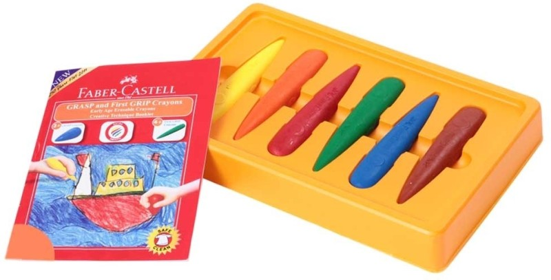 Faber Castell Triangular Shaped Wax Crayons(Set of 6, Multicolor)