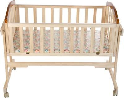 Mee Mee Baby Wooden Cradle with Swing & Mosquito Net(Beige)