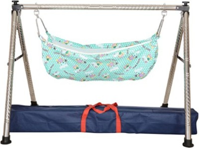 A To Z Sales Indian Style Semi - Folding Stainless Steel Square Pipe Ghodiyu (Baby Cradle)(Blue)