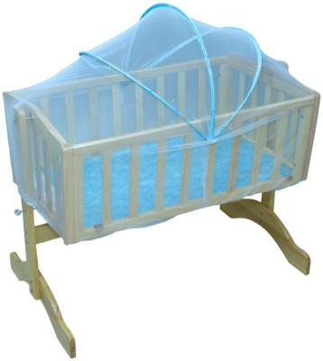 Mee Mee Baby Wooden Cradle with Mosquito Net(Blue, Beige)