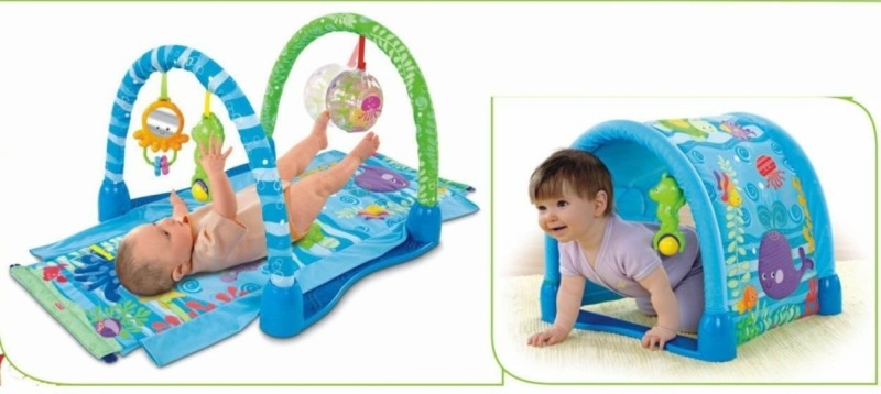 Just Toys 3 Way Kick & Crawl Play Gym with Innovative Tunnel Hood(Multicolor)