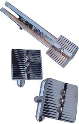 Wholesomdeal Metal Cufflink & Tie Pin Set