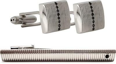Peluche Brass, Crystal Cufflink & Tie Pin Set