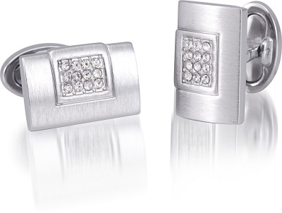 Infinity Nickel Plated with Clear Crystal Cufflink