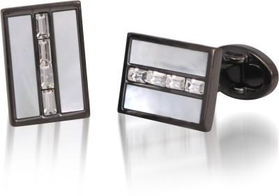 Infinity Black Nickel Plated, Grey MOP, Clear Crystal Cufflinks