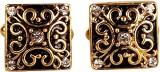 Bezel Brass Cufflink Set (Gold)