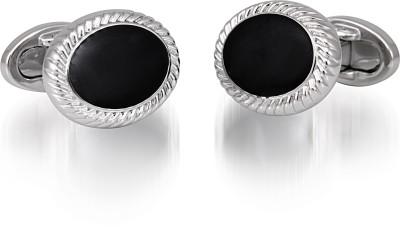 Infinity Nickel Plated with Black Enamel Cufflinks