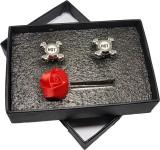 Bezel Brass Cufflink Set (Silver)