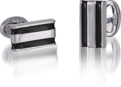 Infinity Nickel Plated with Black Enamel Cufflink