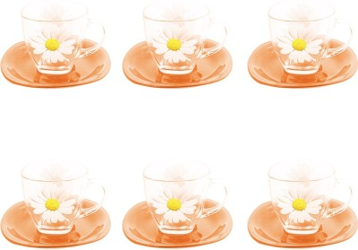 Luminarc Orange Clear Floral Temp Carina Paquerette Melon Cup And Saucer at flipkart