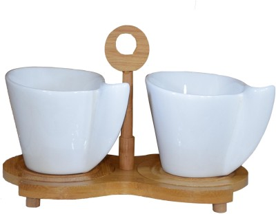 Gift-Tech 2 Pcs CERAMIC TEA/COFFEE CUP SET WITH SAUCER ON A BAMBOO DISPLAY STAND 14A313