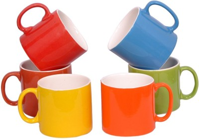 Elite Handicrafts Multicolor Tea Cups Set Of 6 With White Inside Ehcc117(Multicolor, Pack of 6)