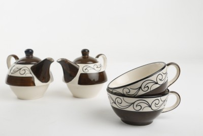Caffeine Ceramic Handmade Brown 2 in 1 Teapot with Cup