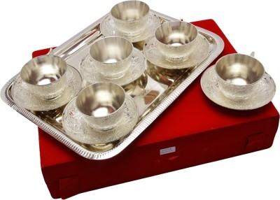 IndianCraftVilla Handmade Royal Silver plated Cup plate set with 6 Cup 6 plate and tray Can be use as kitchenware and Holi,Diwali Anniversary Gift,Other Gift ideas ICV-CP-139(Silver, Pack of 13) at flipkart