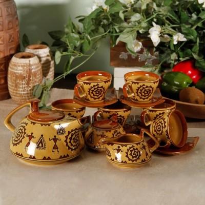 Unravel India Warli Handpainted Stoneware Tea Set (Set Of 15)
