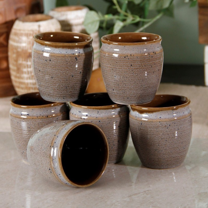 Unravel India Studio Pottery Kulhad 1(Grey, Brown, Pack of 6)