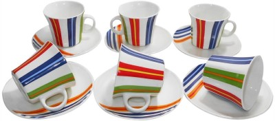 Classique Bone China Octagon Cup Saucer Set(Multicolor, Pack of 12)