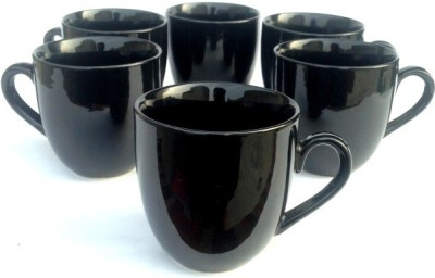 Buyer's Beach Ever-Green Elegant Black s Set Of-6 Ceramic Cup(Black, Pack of 6)
