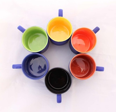 Aarzool Multicolor Pipe Shape Cups(Multicolor, Pack of 6)