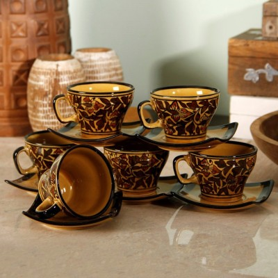 Unravel India Mughal handpainted Cup Saucer 1(Brown, Pack of 12)