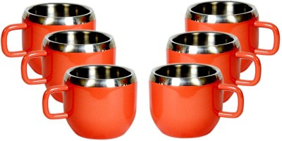 Dynore Color double wall Apple cups DS_419(Red, Pack of 6)