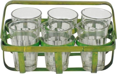 ExclusiveLane Tea Glasses with Green colored Bamboo Holder EL-005-103(Green, Pack of 7)