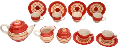 Stonish Tea set in orange and white colour with round pattern with trendy art handmade pottery DL05TSOW(Multicolor, Pack of 15)