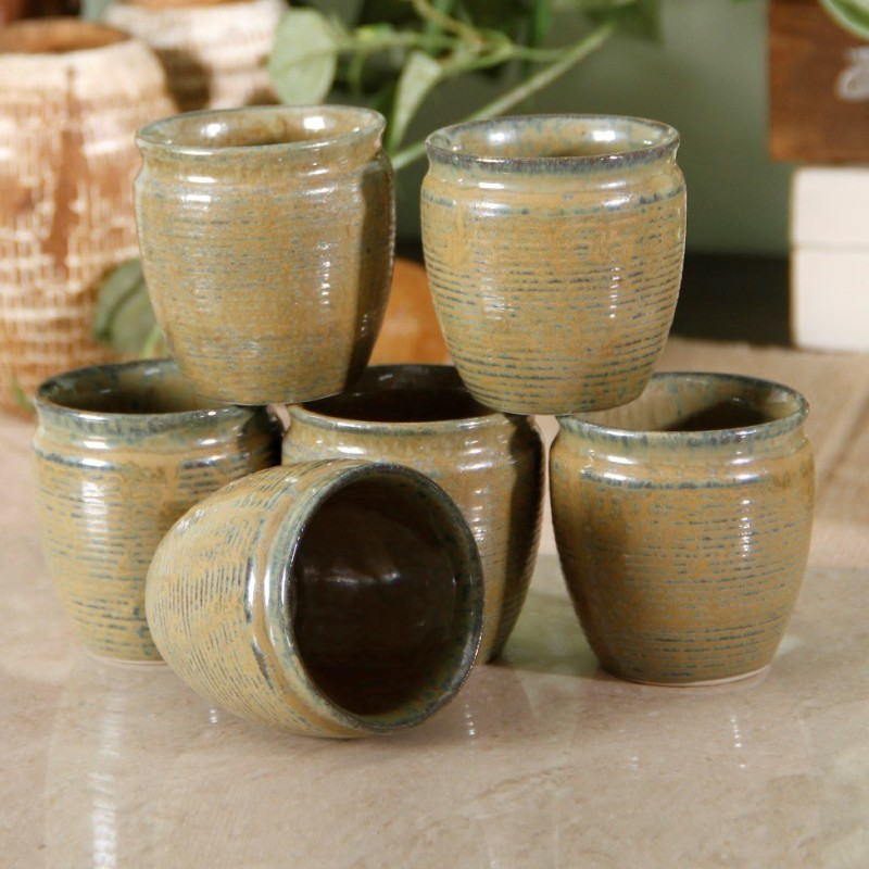 Unravel India Studio Pottery Kulhad(Gold, Pack of 6)