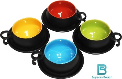 Buyer's Beach Kashmiri Apple Cups & Saucers Set of 4(Multicolor, Pack of 4)