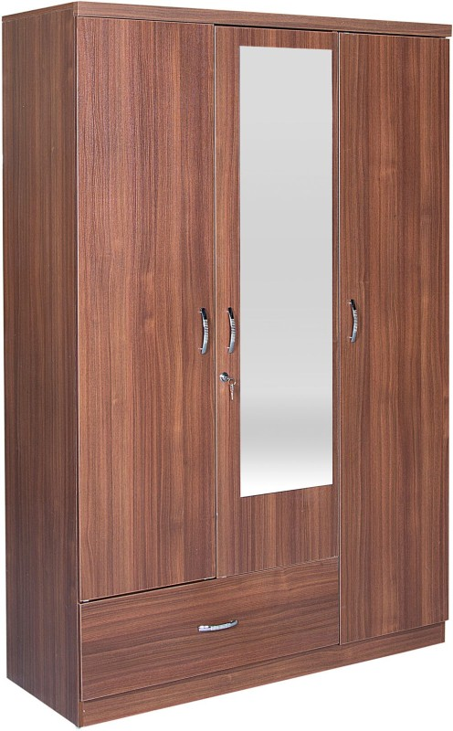 HomeTown Ultima 3 Door With Mirror Rwlnt Engineered Wood Almirah(Finish Color - Regato Walnut)