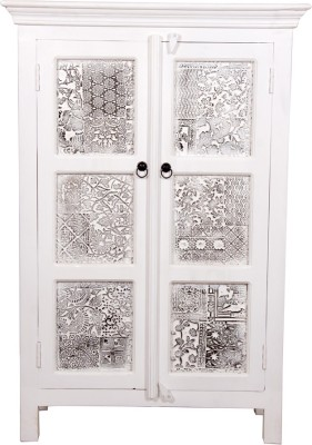 The Attic Solid Wood Almirah(Finish Color - White)