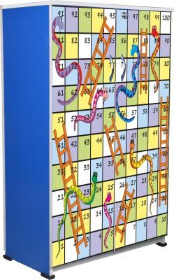 BigSmile Furniture BigSmile Kids Wardrobe - Snakes and Ladder Engineered Wood Cupboard(Finish Color - Blue)